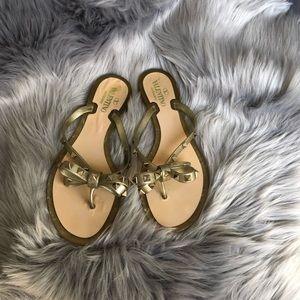 Valentino Rockstud Jelly Flip Flops Gold Size 40